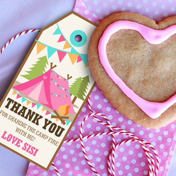 Backyard Camping Party Favors for a Girl | Camp Out Party Favor Tags