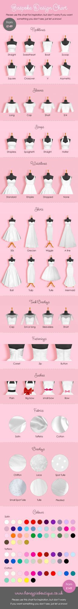 Bespoke wedding dress design chart, custom wedding dress, affordable, quirky alternative wedding dress