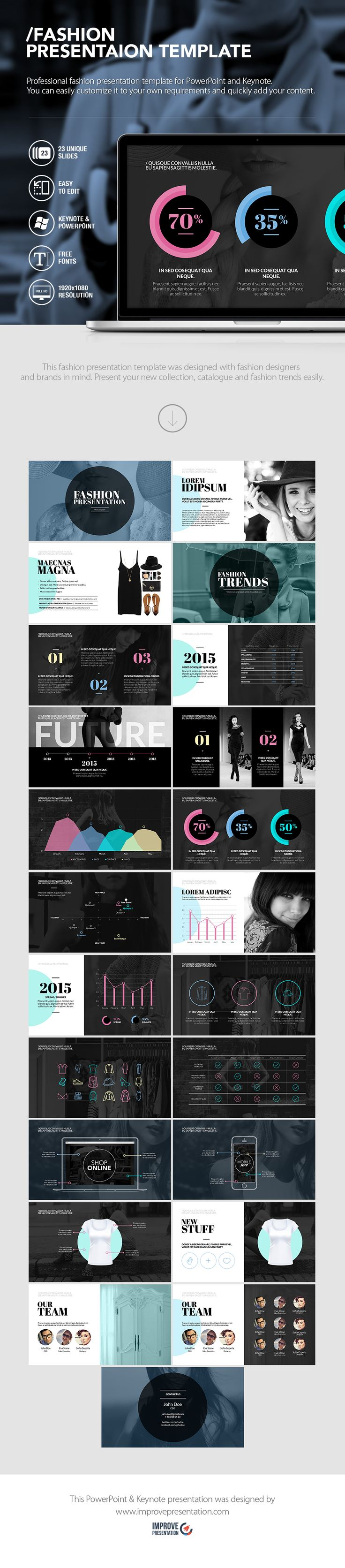 This fashion presentation template was designed with fashion designers and brands in mind. Present your new collection, catalogue and fashion trends easily.  LINK -> https://www.improvepresentation.com/presentation-templates/fashion-presentation-template  #fashion #designers #showroom #catalouge