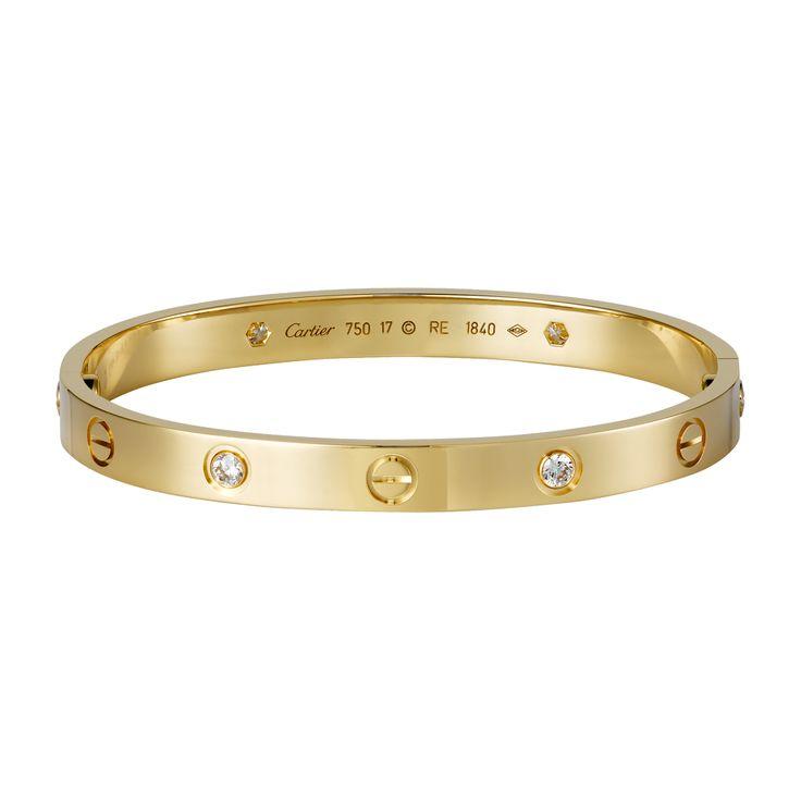 cartier love bracelet 18K yellow gold set with 4 diamonds