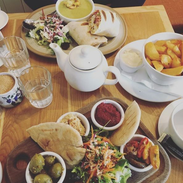 Our very own Veggie Mezze, Tumeric & Garlic Falafel wrap with the soup of the day & Chunky Chips. Lunch never tasted so good!