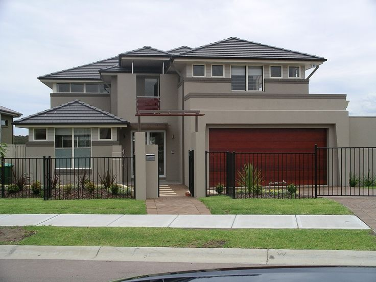 [ Sweet Exterior Paint Colour Design Plus Dark Iron Fence Also Triangle  Roof Top Feats Maroon Garage Door Ideas ]