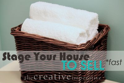 "The Creative Imperative: Staging the House to Sell {in less than one week}  *White stuff everywhere (towels, slipcovers, duvets, shower curtains, etc)  *Make the bathroom ""spa like"" (Sherwin Williams ""watery"" color on walls)  *Everything off the counters (kitchen and bath)   *Store any stuff that is cluttering your home  *Paint your trim.  Paint your trim.  Paint your trim. - Pin now, read later"
