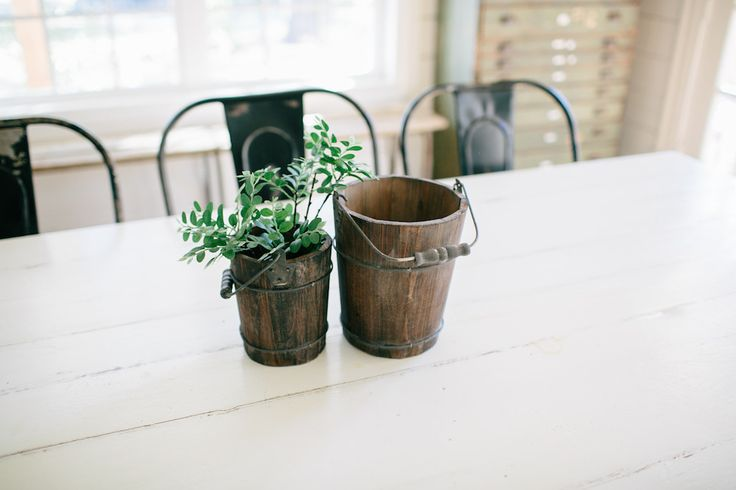 Rustic Wooden Water Pail | The Magnolia Market- she put lemons in them on the show. super cute