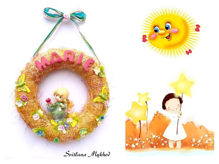 """Couronne d'enfant avec prénom """"MARIE"""" . Création unique. : Décoration pour enfants par perles-et-couronnes"""