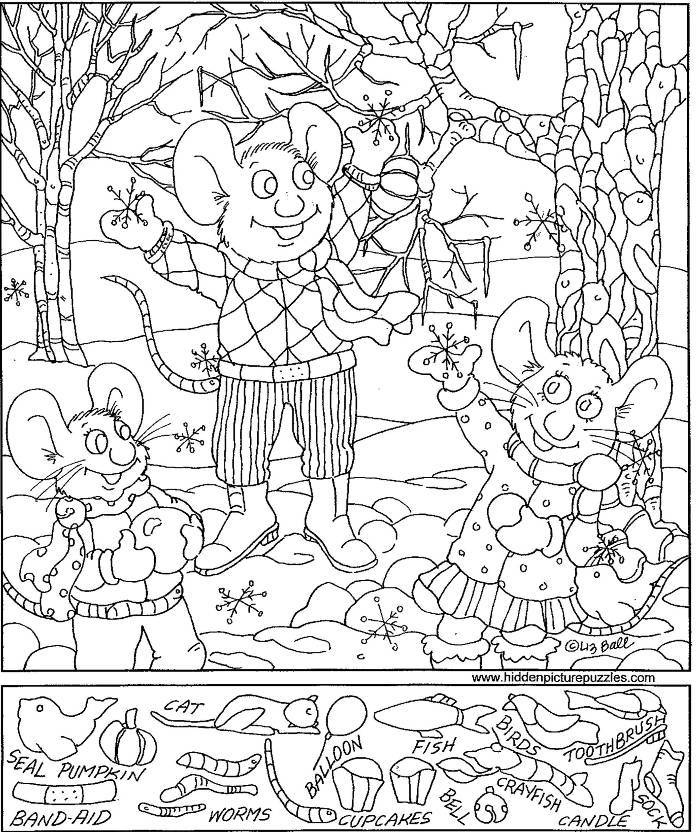 Snowflakes Hidden Picture Coloring Page