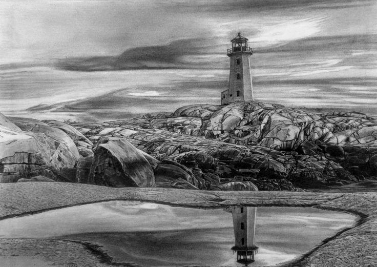 Peggy's Cove - Nova Scotia Pencil drawing created by Nova Scotia artist, Robb Scott.