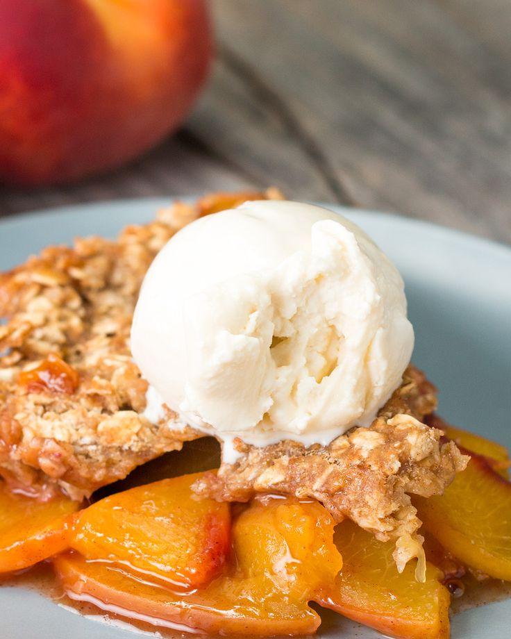 Healthier Peach Skillet Crisp