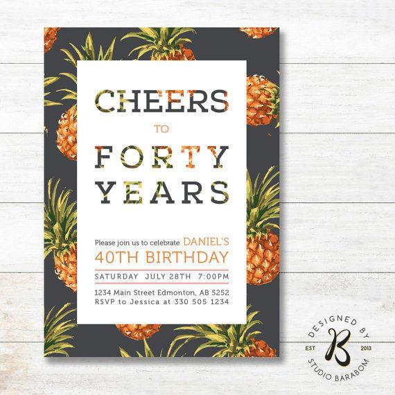 Invitation anniversaire adulte - 40e fête d'anniversaire - 21e, 30e, 50e, 60e invite - AB16 Tropical, ananas