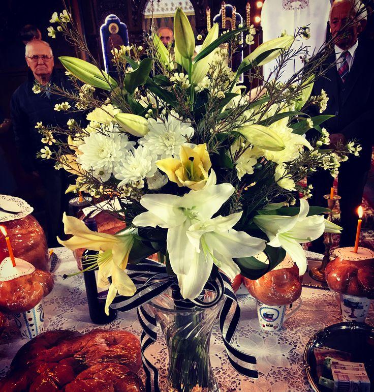 Sympathy bouquet: white and cream lilies, wax flower, chrisantemum #bouquet by #atelier.floristic.aleksandra concept Alexandra Crisan