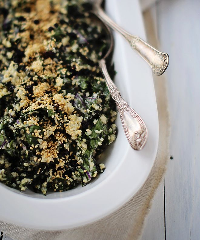 Quina Shredded Kale Salad3  Shredded Kale + Quinoa Salad with Creamy Tahini Dressing  **I ate way too much of this last night! It was that good!**