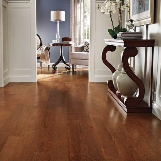 Warm Toasted Hickory Hardwood Floors For Entry Hall