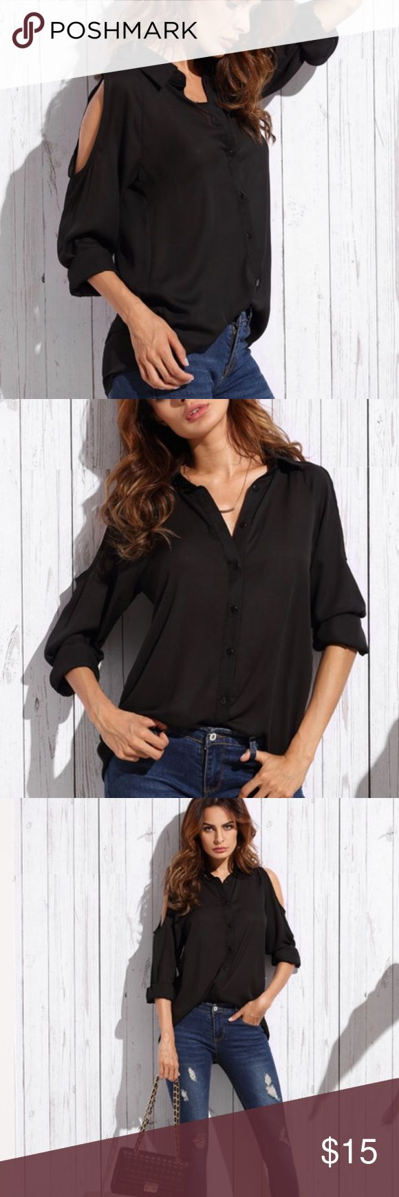 Black open shoulder chiffon blouse NWOT long sleeve open shoulder button front black chiffon blouse. No brand name or tag, just the size tag-small. Never worn Tops Blouses