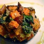 quinoa and sweet potato stuffed mushroom caps