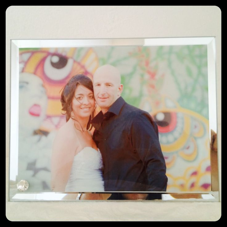 Glass photo tile with mirror