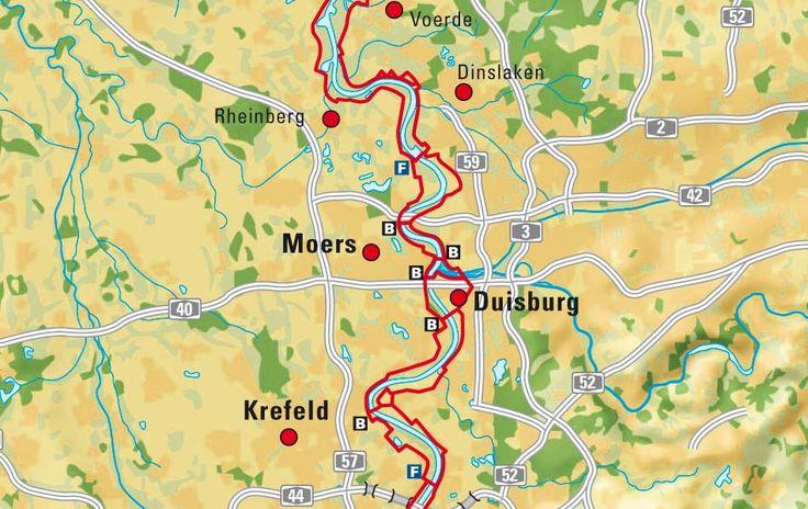 Der Rheinradweg zwischen Krefeld und Dinslaken