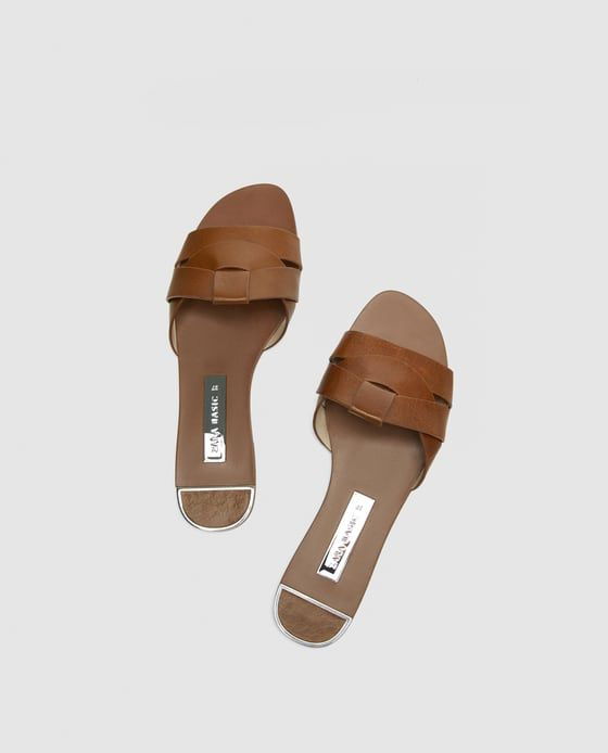 6040fd4b4c64 Image 3 of LEATHER CROSSOVER SANDALS from Zara