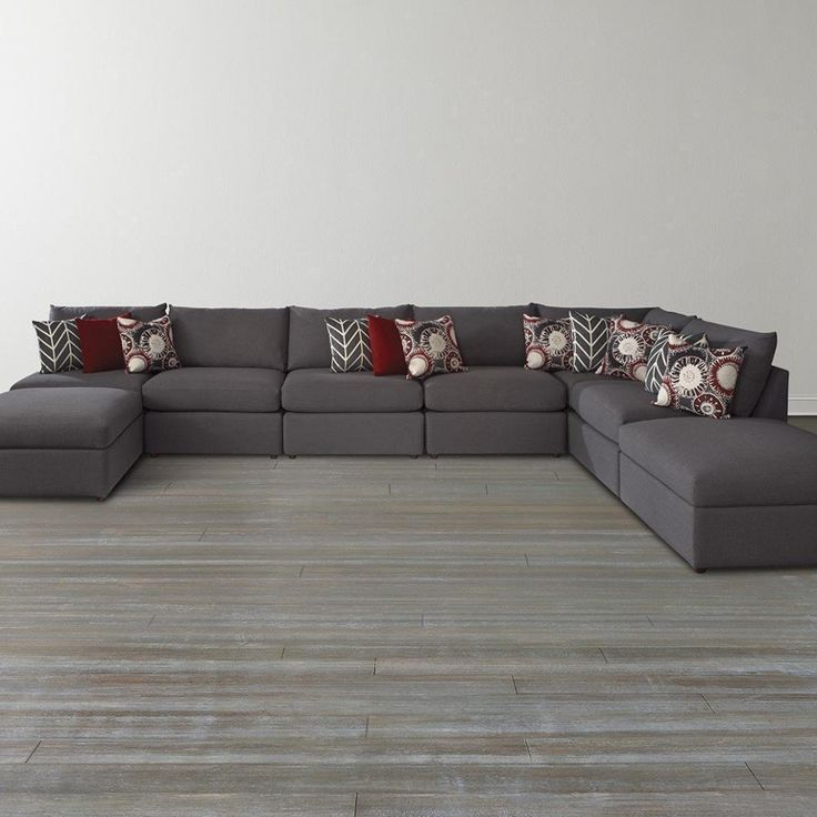 furniture black u shaped sectional sofa with ottoman for living room with dark hardwood floor