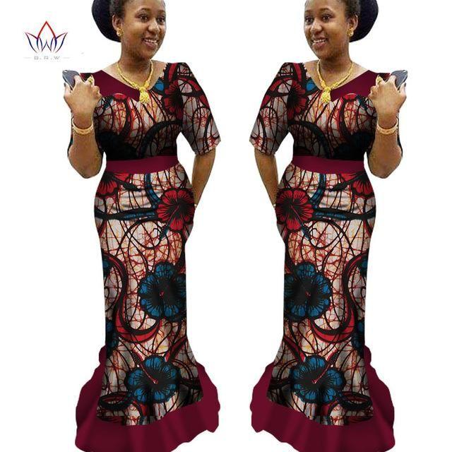 African Traditional Clothing Ankara Print Dashiki V-Neck Long African – Owame