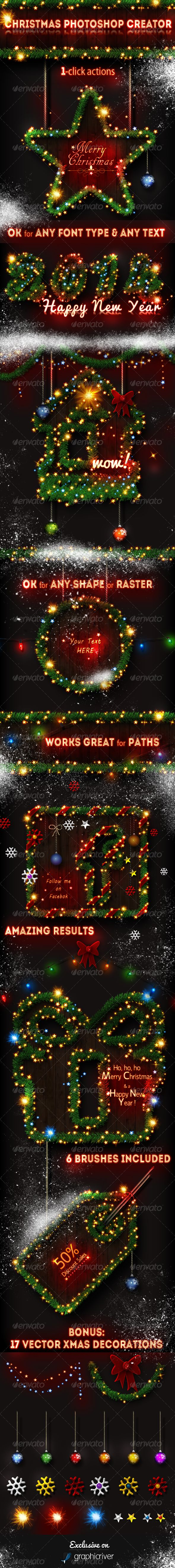 Christmas Tree Photoshop Creator  #GraphicRiver         Christmas Tree Photoshop Creator by psddude – This set contains 2 Photoshop actions that will allow you to create realistic Christmas tree effects out of any text, shape, raster or hand drawn path.   The Christmas tree effect can easily be modified and customized after the action is ended. You can use one of the 6 Xmas brushes included in this pack: stars, snow, fireworks, glow, etc. The pack also comes with 17 vector Christmas tree…