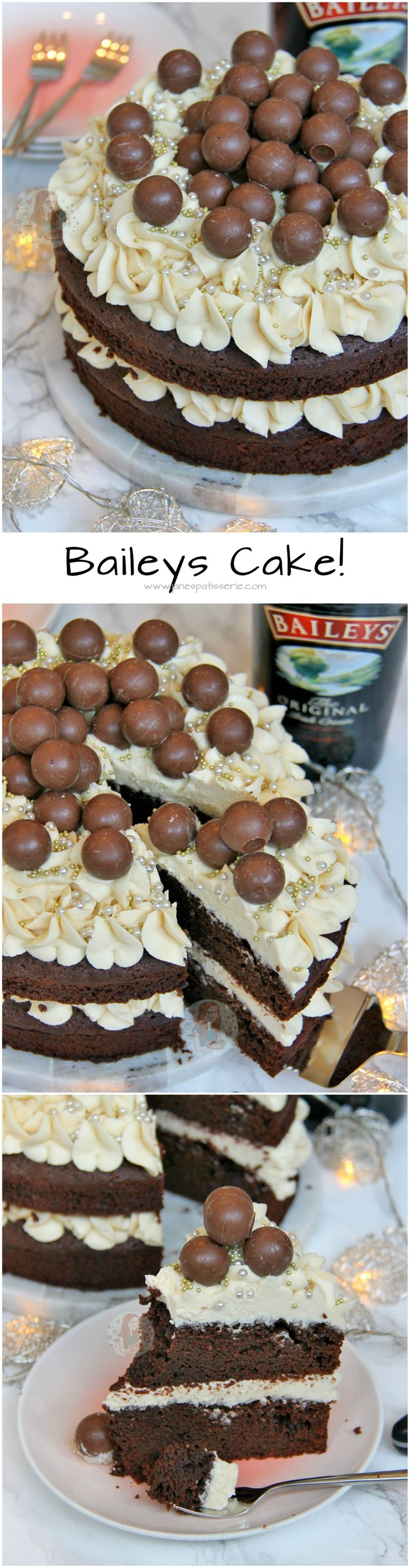 Baileys Cake!! A Two-Layer Chocolate Fudge Cake with Baileys Buttercream, and Baileys Truffles. The MOST Delicious Baileys Cake Ever!