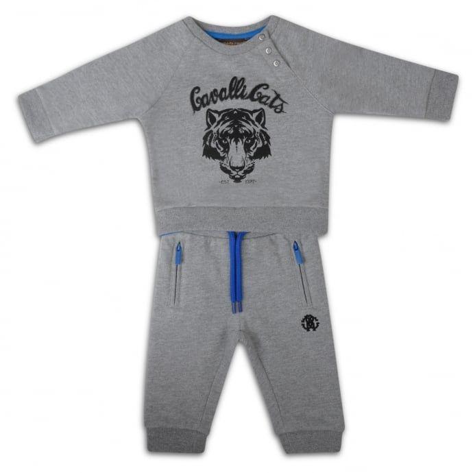 Roberto Cavalli Kids Baby Boys Grey Tracksuit with Embroidered Logo - Roberto Cavalli Kids from Chocolate Clothing UK