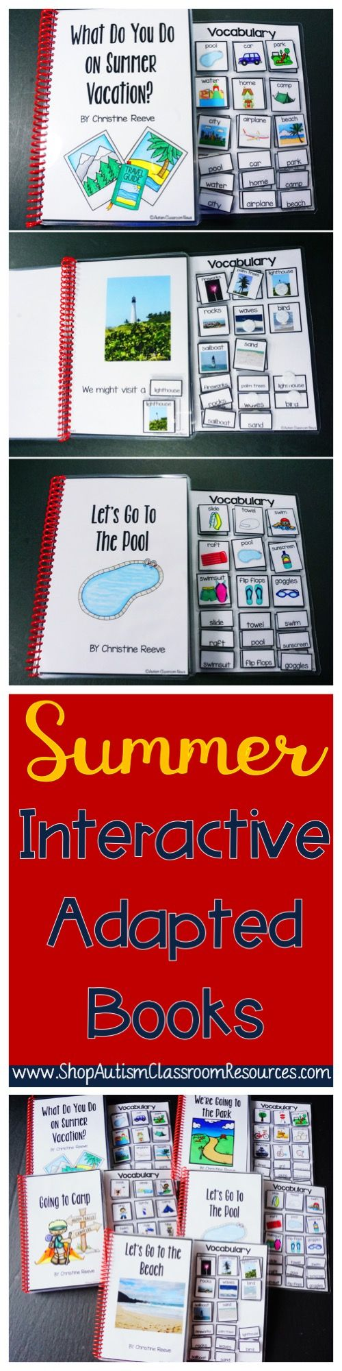 Interactive books designed for early childhood and students in special education.  I love them for morning meeting, story time, and functional reading.  Great summer vocabulary with words and pictures. Even nonreaders can read using these books and can be engaged in literacy activities.
