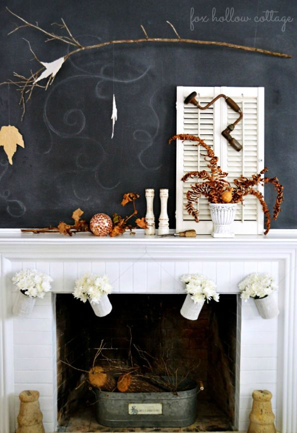Fall Fireplace Mantel via @Robert Hollow Cottage