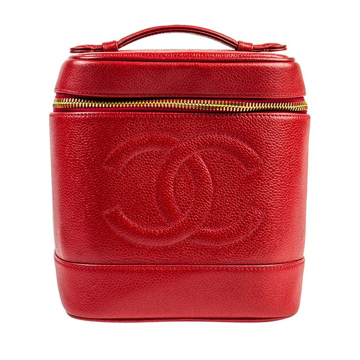 Chanel Red Caviar Leather Vanity Case | From a collection of rare vintage handbags and purses at http://www.1stdibs.com/fashion/accessories/handbags-purses/