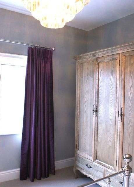 Farrow and Ball Lamp Room Gray Painted bedroom, aubergine velvet curtains, john lewis chandelier