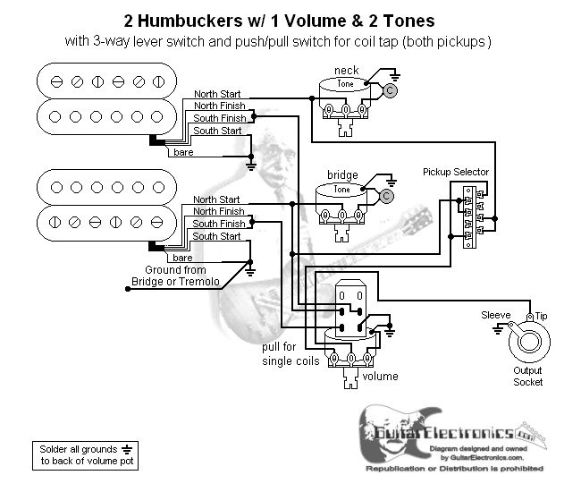 2 humbuckers/3-way lever switch/1 volume/2 tones/coil tap ... dimarzio coil tap wiring diagram coil tap dimarzio wiring diagrams