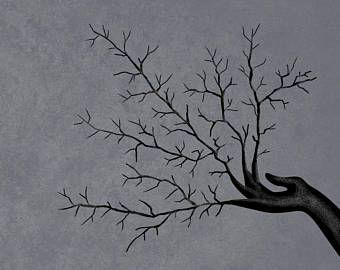 Groeiende hand - Art print, kunst aan de muur, muur Decor, donkere kunst