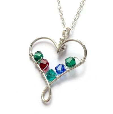 wire heart birthstone pendant 4 crystals - handmade jewellery (8)