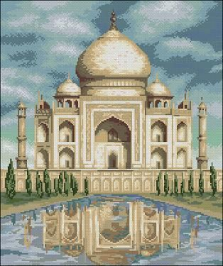 "Cross-stitch patterns ""Taj Mahal"" Taj Mahal is a perfect symbol of eternal love! Pattern Name: Taj Mahal Company: Copyright: Fabric: Aida 14, White 174w X 208h Stitches Size(s): 14 Count,   31.57w X 37.74h cm 16 Count,   27.62w X 33.02h cm 18 Count,   24.55w X 29.35h cm 11 Count,   40.18w X 48.03h cm Format: PDF, black …"