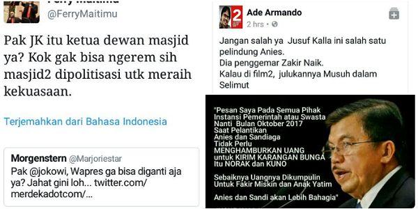 Bela Kehormatan Islam Jusuf Kalla Terus Diserang Pendukung Ahok  [PORTAL-ISLAM] Beberapa waktu belakangan Wakil Presiden Jusuf Kalla mendapat serangan bertubi-tubi dari beberapa pendukung Ahok yang kebetulan beragama nasrani meski ada juga yang mengaku muslim. Mereka 'gerah' dengan keteguhan Daeng Ucu nama panggilan akrab Wapres Jusuf Kalla dalam membela Islam dan membela kepentingan pengusaha Indonesia. Serangan kepada Wapres Jusuf Kalla sebenarnya sudah lama diinisiasi oleh lawan-lawan…