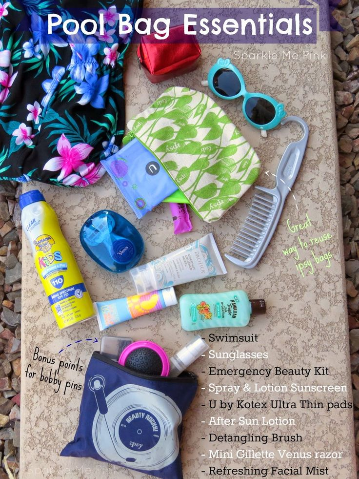 See blog post for full list and details : What's In My POOL Bag | Pool Bag Essentials