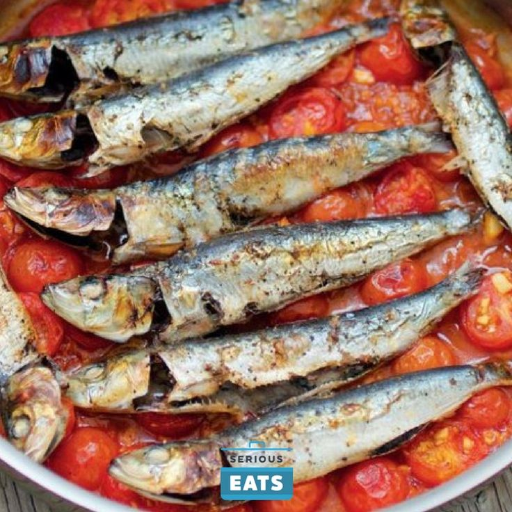 Fresh sardines quickly broiled atop the fragrant sauce are a step above the canned variety and just as effortless to prepare.