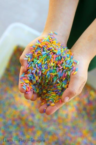 How to make rainbow rice for art and sensory play - no alcohol or vinegar needed!