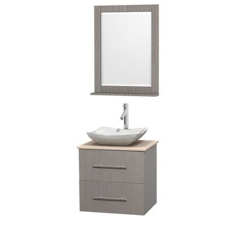 Wyndham Collection Centra 24 inch Single Bathroom Vanity, Grey Oak, White Carrera Marble Countertop, Avalon Ivory Marble Sink, and 24 inch Mirror, Beige