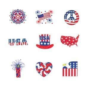 "Glitter Patriotic Tattoos by Century Novelty. $4.95. Patriotic Party Favors Show Off Old Glory with New Style! The party doesn't start until everything is starred and striped, including your guests. So fill your goody bags with starred and striped favors like these. They make perfect patriotic party favors as well as festive Fourth of July giveaways. 72 tattoos per package. 1 1/2"" long and 1"" wide. Assorted style glitter tattoos. Easy application and removal. Fill y..."