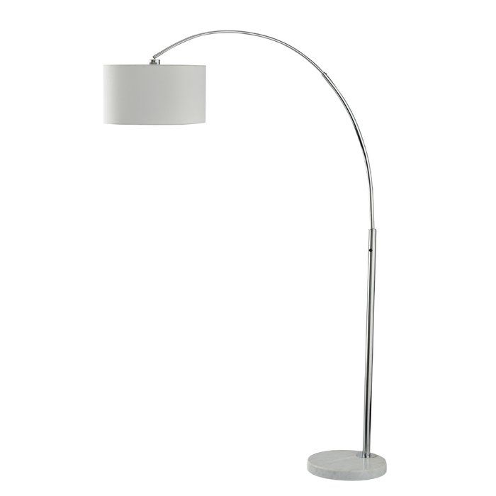 Overarching style. Making a beautifully sweeping statement, this arc lamp shines a light on cool, contemporary design. Marble base provides stability and an upscale touch.
