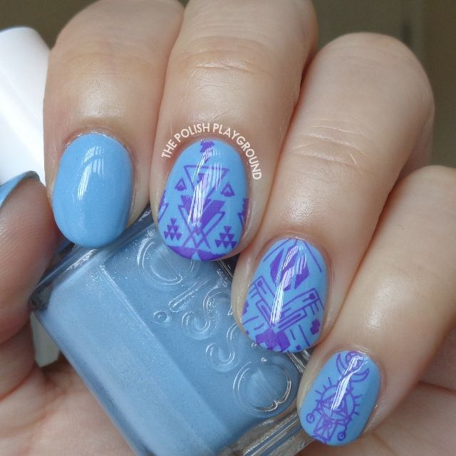 Blue with Purple Tribal Inspired Stamping