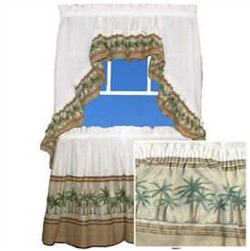 palm kitchen decor | Palm Tree Kitchen Bathroom Curtain Set with Swag Valance Sailboat