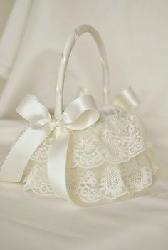 DIY lace flower girl baskets | Ivory Tulle and Lace Flower Girl Basket Ivory by weddingsandsuch, $48 ...