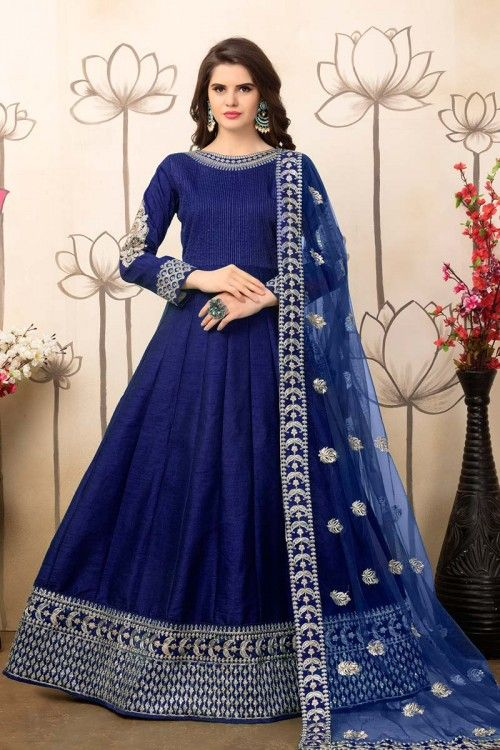 Blue Art Silk Anarkali Churidar Suit With Embroidered Dupatta http://www.andaazfashion.com/salwar-kameez/anarkali-suits