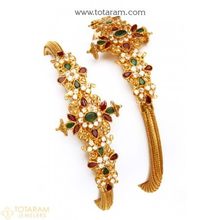 22K Gold Kada with Cz , Ruby & Emerald - Set of 2 (1 Pair) - 235-GK517 - Buy this Latest Indian Gold Jewelry Design in 41.650 Grams for a low price of  $2,409.85