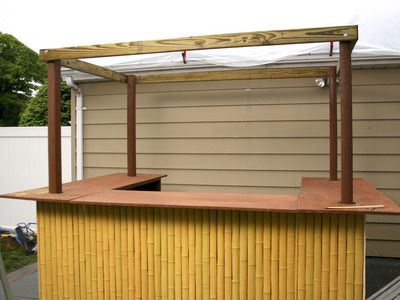 How to build a tiki bar pallet wood bar and tiki bars for Building a tiki bar from pallets