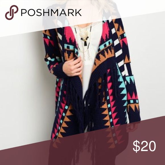 Fringe Cardigan Multi color cardigan with fringe. Longer hemline in front. Sweaters Cardigans