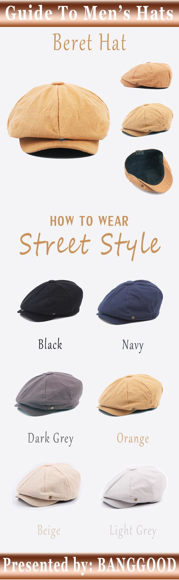 US$8.99+Free shipping. Mens Fashion, Beret Hat, Cowboy hat, Crochet hat, Baseball hat. Love this outdoor and street style of hat. Material: Cotton Blend. Color: Dark Grey, Light Grey, Orange, Black, Beige, Navy.