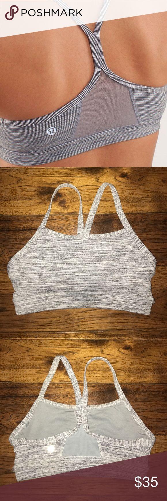 "Lululemon ""Flow Y bra IV"" Grey sports bra with mesh in the back, NEVER WORN!!! So no signs of wear!! lululemon athletica Intimates & Sleepwear Bras"